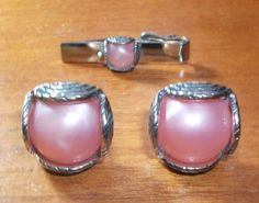 Vintage Pink Thermoset Swank Cufflinks & Tie Bar by feathersoup, $14.00