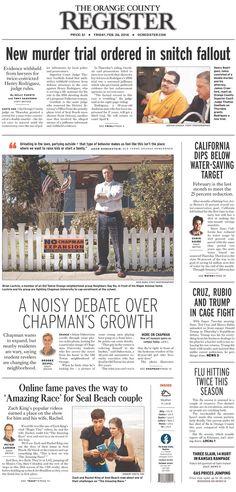 #20160226 #USA #SantaAnaCA #OrangeCountyCA #CALIFORNIA #TheOrangeCountyREGISTER Friday FEB 26 2016 http://www.newseum.org/todaysfrontpages/?tfp_show=80&tfp_page=1&tfp_id=CA_OCR