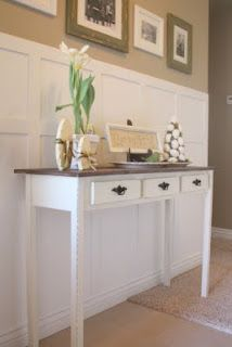 Cute DIY entry table - looks pretty simple to make (and inexpensive if you already have extra wood) via COUNTRY GIRL HOME