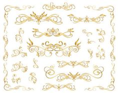 Gold Digital Flourish Swirl Border Frame Clip by OneStopDigital