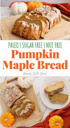 Healthy Spiced Paleo Pumpkin Bread Recipe (Sugar Free Nut Free)- This healthy paleo pumpkin bread is a delicious sugar free fall treat. This recipe makes a moist thick bread with flavors of maple warm spices and rich pumpkin. via Healthy Spiced Paleo Healthy Bread Recipes, Paleo Treats, Dairy Free Recipes, Gourmet Recipes, Whole Food Recipes, Eat Healthy, Paleo Pumpkin Recipes, Gluten Free, Paleo Dessert