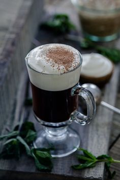 This traditional Irish coffee is made the classic way - brown sugar, coffee, Jameson Irish whiskey and whipped cream. It warms you up and is ready in 10 minutes!