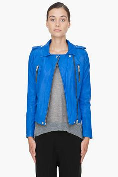 IRO Blue Leather Anabela Jacket