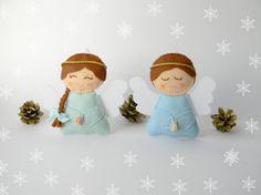 Navidad adornos adornos de fieltro angel por Rainbowsmileshop