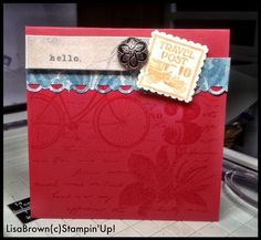 Stampin' Up! Postage Due quick and easy card!  www.inkandinspirations.com