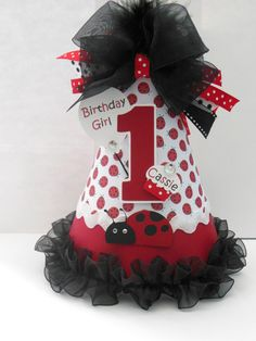 Lil' Ladybug Birthday Party Hat - Red, Black and White - Personalized on Etsy, $20.00