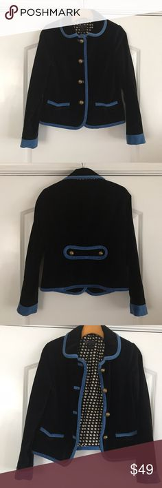 Marc Jacobs Black and Blue Velvet Blazer Amazing black blazer with blue trim. Two front pockets with large buttons. Flower lining. Belt detail in the back. In amazing condition. Marc Jacobs Jackets & Coats Blazers