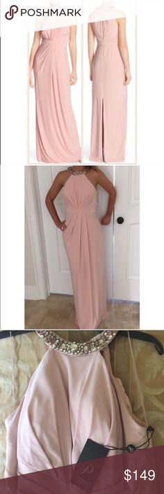💥 NEW ADRIANNA PAPELL PINK JEWEL JERSEY GOWN Brand new with tags Adrianna Papell pink jersey halter gown. Size: 10 Beaded neckline Halter neck Sleeveless Pleated Knotted front Polyester Dry clean Adrianna Papell Dresses Maxi