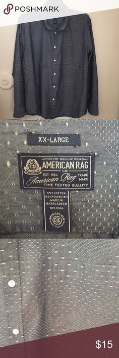 Men's American Rag Button down shirt XXL Men's American Rag Button down shirt XXL Blue with diagonal boxes checkered throughout. Has all buttons, no rips or tears. EUC American Rag Shirts Casual Button Down Shirts