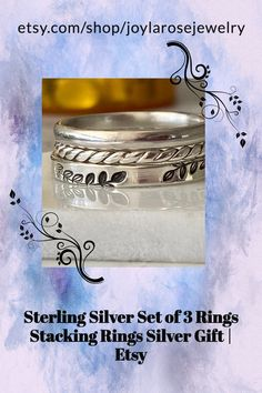 Silver Rings with hand stamped designs. Check out Joylarosejewelry.com Silver Opal Ring, Silver Stacking Rings, Opal Rings, Sterling Silver Rings, Bubble Wrap Envelopes, Twist Ring, Flower Stamp, Silver Gifts, Personalized Jewelry
