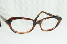 1960's Cat Eye Glasses Tortoise Horn Rim Oval Brown Womens Petite Optical Frame 46/16 by Bausch and Lomb on Etsy, $79.00