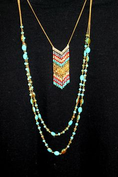 "Lively and strands from Belize. Belize Necklace from the Premier Designs Collection. 20554 - gold tone aurora boreal is glass beads - 36"" five strand necklace + 4"" removable extension w/lobster claw and two ( 34 1/2"" & 37 1/2"" ) removable bead strands. #PremierDesigns"