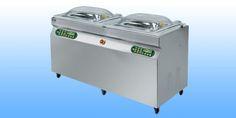 Samostojeće vakumirke s komorom  EPA 550-S DUPLEX -dimenzije: 1680x680x1050 -dimenzije komore: 2X(720x570x220) -širina varilice: 2x(2x550 mm) -vakum pumpa: Q= 100 m3/h -težina: 260 kg -napajanje: 380 V/50 Hz  -materijal: inox