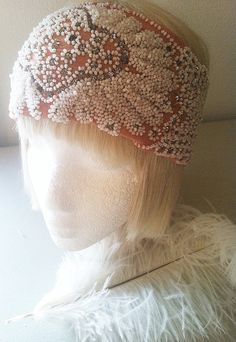1920s Bohemian Crystal Head Scarf Heavily Beaded Antique Flapper Bridal Headpiece Remnant-The Great Gatsby DG
