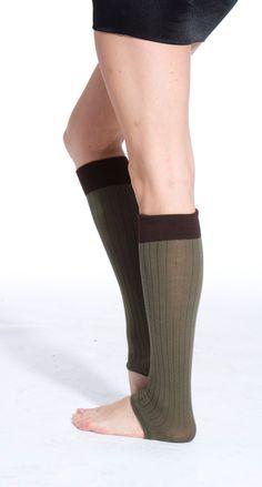 Toeless Knee High Socks (Khaki/Chocolate) - Pamela Mann