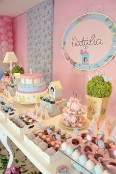 So beautiful and cute party. Shower Party, Baby Shower Parties, Girl Birthday, Birthday Parties, Fiesta Baby Shower, Bird Party, Festa Party, Party Decoration, Candy Table