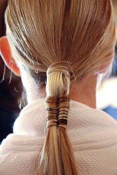 Teeny-tiny fishtail braid actually woven into a ponytail from the Marchesa Spring 2012 show. Tutorial