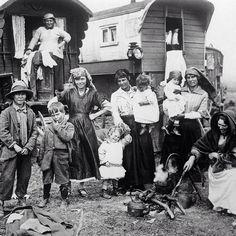 A gypsy beach camp near Epsom, England in 1930