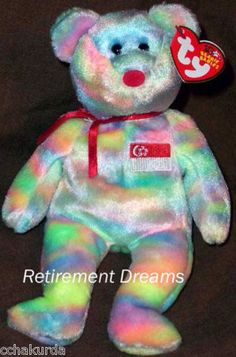 SINGABEAR SINGAPORE Exclusive TY Beanie Baby Bear NEW Country #Ty