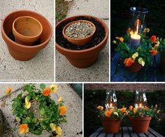 Potted Candle Planters, Would Work Well With Some Citronella Candles       /     Gardening World