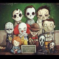"""'Horror movie characters"""" Horror Cartoon, Funny Horror, Horror Icons, Arte Horror, Horror Art, Horror Movie Characters, Horror Movies, Horror Villains, Slasher Movies"""