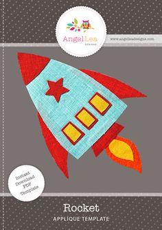 rocket applique template for solar system quilt for Jet