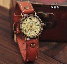 Coffee Leather Women Wrist Watch - Men Watch - Women Leather Watch - Vintage Style With Roman numerals- Cute Women's watch