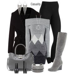 """Diamond Pattern Sweater Dress"" by casuality on Polyvore"