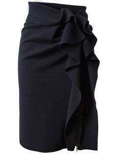 Navy stretch wool pencil skirt with structured ruffled side detail from Lanvin. Folded over waistband. Off-centre exposed zip down front with heat-cut ruffle placket. Unlined. Specialist dry clean only.