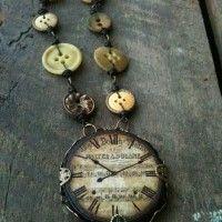 bisuteria con botones - collar con botones estilo vintage