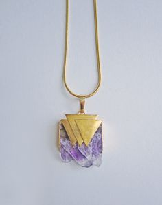 Tove Amethyst Triangle Necklace — Eclectic Eccentricity Vintage Jewellery