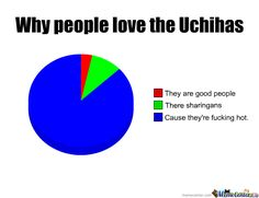 "Naruto » Humor » Pie Chart Meme | ""Why people love the Uchihas: Cause they're fucking hot"" 