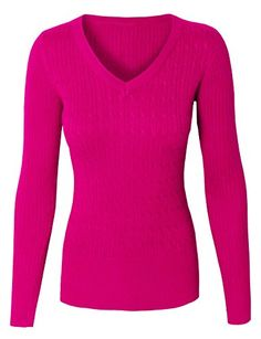 Women's Pullover Sweaters - makeitmint Womens Basic Round or VNeck Twisted Cable Knit Pullover Sweater S3XL >>> Be sure to check out this awesome product.