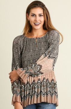 Pleated Print Top