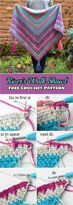 River's Walk Shawl Free Crochet Pattern