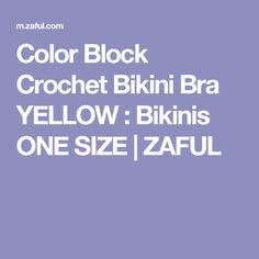 Color Block Crochet Bikini Bra YELLOW : Bikinis ONE SIZE | ZAFUL