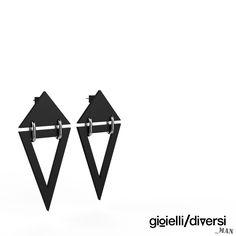 black pvc pendant earrings