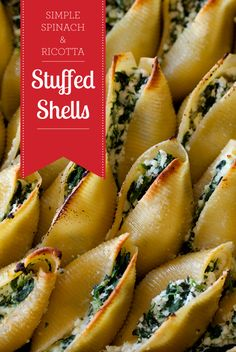 Perfectly grabbable ricotta and spinach stuffed shells