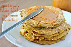 Vegan + Gluten Free Spiced Apple n' Pumpkin Pancakes with Homemade Pumpkin Butter