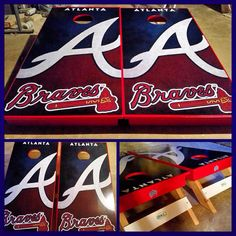 An Atlanta Braves Cornhole board set! Made by BKL Boards!   www.bklboards.com