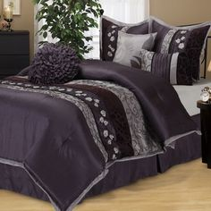 Riley Purple 7-piece Bedding Comforter Set - 18633821 - Overstock - Great Deals on Comforter Sets - Mobile