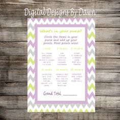 Purse Baby Shower Game What's In Your by DigitalDesignsByDawn