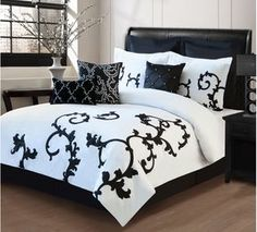 9 Piece Queen Duchess Black and White Comforter Set Bedroom Sleeping for sale online Decor, Black Bedding, King Size Comforters, Comforter Sets, Bedroom Furniture Sets, Bedding Sets, White Bedding, Home Decor, Comforters