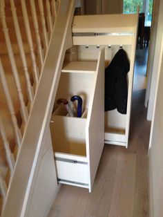 Child-coat-and-sports-equipment-pull-out-under-stairs-storage-drawer