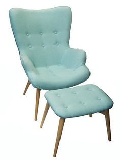New GRANT FEATHERSTON SIDE CHAIR RETRO Bedroom REPLICA Armchair STOOL Turquoise