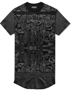 900150459f4bd Leather embossed pictorial church T Cool Shirts