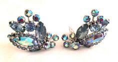 WEISS Blue Striking Aurora Borealis AB Crystals Clip on Earrings Sparkling