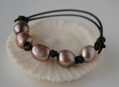 Mauve baroque pearl and leather bracelet by JudysDesigns on etsy.com