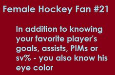 Signs you might be a female hockey fan..