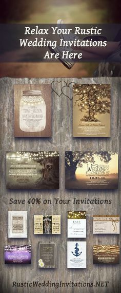 Find rustic country wedding invitations on rusticweddinginvitations.net #rusticwedding #wedding